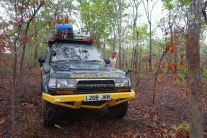 Assessing the route as we drive into the bush